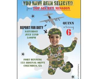 Army Birthday Invitation, Photo Army Birthday Invitation, Custom Photo Birthday Invitation, Printable Birthday Invitation, Digital File