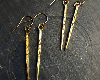 Gold Tribal earrings,Gold Spike Earrings,Long Gold Earring,Tribal Gold Spikes,Gold Boho earrings,Spike Earrings Gold,Long Gold Earring,Thai