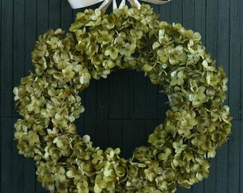 Green Hydrangea Year Round Front Door Wreath