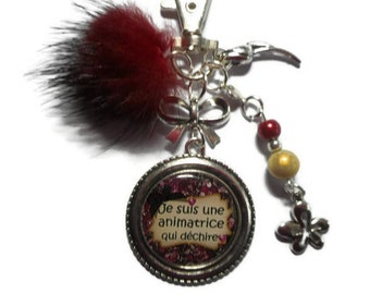 """Bag charm, door keys/host / """"I'm a leader who rocks"""" / year end gift/birthday/party/thanks/holiday / Christmas"""
