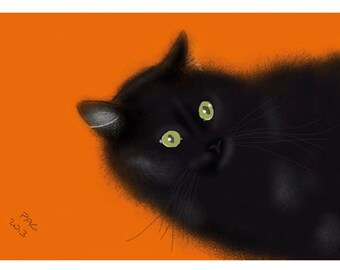 Cat Greeting Card, Blank, Clover on Orange Design No A6015