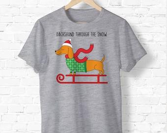 Daschund Through The Snow - Ugly Christmas Shirt - Holiday Tee Shirt