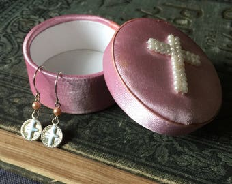 Sterling Silver Cross Dangle Earrings and Small Pink Pearl with Pink Satin Box Pearl Cross