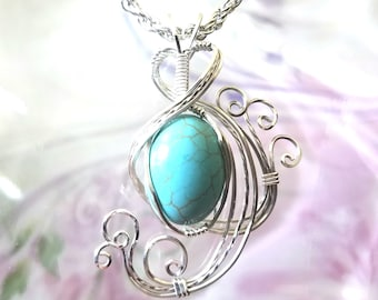 Turquoise Howlite Womans Pendant Wire Wrapped Jewelry Handmade in Silver With Free Shipping