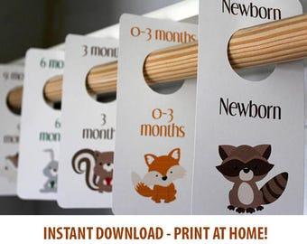 PRINTABLE Woodland Creatures - Baby Boy Closet Dividers - Animals - Baby Room - Nursery Decor - Nursery Organization - Baby Shower Gift