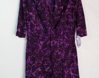 "Vintage 60s women's dress, purple, size 42"" bust, XL"