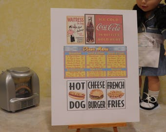 1950's Diner Signs for 18 inch dolls