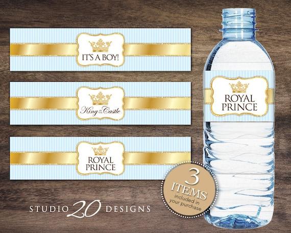 Instant Download Royal Prince Bottle Labels Printable Blue