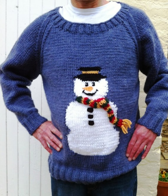 Snowman Sweater Chunky Knitting Pattern Adult