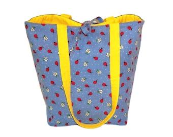 Ladybug Tote Bag, Blue Cloth Purse, Handmade Handbag, Polka Dots, Lady Bugs, Daisy Flowers, Fabric Shoulder Bag