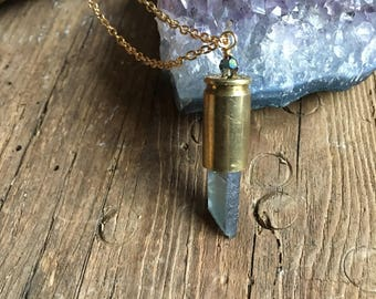 Bullet crystal necklace blue aura crystal bullet shell casing bead wire wrapped long chain boho jewelry