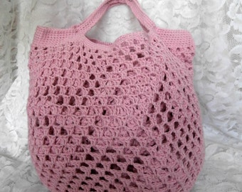 SALE - Eco Friendly Crochet Shopping Bag - Recycled Cotton Knit Market Fruit Vegetable Grocery Carrier - Tote Bag String Bag