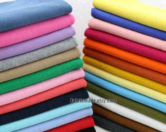 "62 Colors Choose Ribbing- 7.8"" Length 20 x 100cm Ribbing and Binding Knit Fabric For Neckline, Cuffs, Hems"