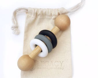 Monochrome Baby gift Wooden rattle Black and white toy Montessori toy for baby first birthday gift