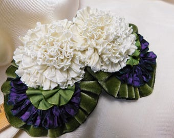 Ivory Roses Ribbonwork Applique Velvet Leaves