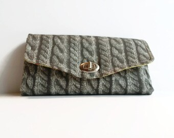 Custom Made Knit Sweater Wallet - Clutch Wallet - Accordion Wallet - NCW - Necessary Clutch Wallet