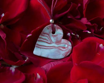 Necklace with porcelain heart. Mother's Day Special