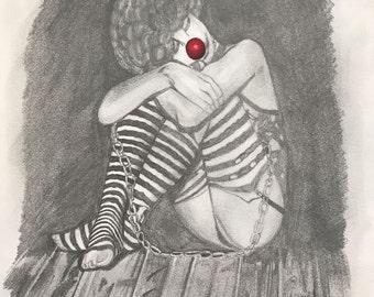 Clown in pencil sketch - Print