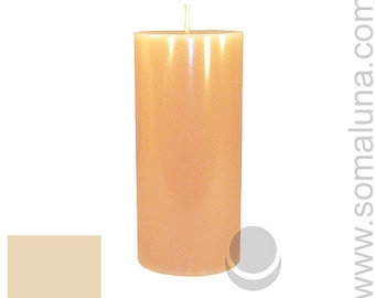 3 x 6.5 Bone Classic Hand-poured Unscented Pillar Candles Solid Color