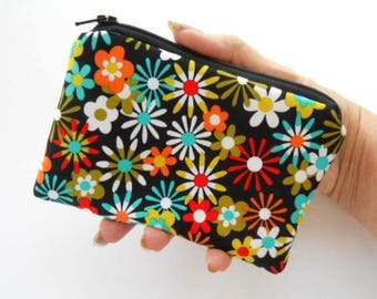 Small Zipper Coin Purse Little Zipper Pouch Little Padded Coin Purse ECO Friendly Aplenty Flowers