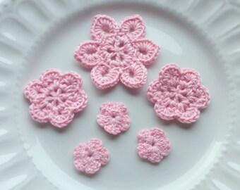 Pale Pink Crochet Flower Appliques x 6, Pastel Pink Flower Appliques, Pink Crochet Flowers