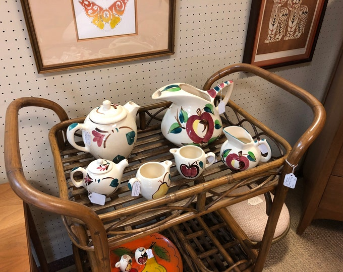 1940s Purinton Apple Collection Hand Painted Ceramic Tea Service / Serving Ware