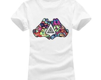 Hands Showing Illuminati Triangle Women's T-shirt
