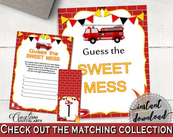 Sweet Mess Baby Shower Sweet Mess Fireman Baby Shower Sweet Mess Red Yellow Baby Shower Fireman Sweet Mess - LUWX6