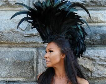 Feather Headdress, Festival Clothing, Burning Man Clothing Women Burning Man Costume, Feather Mohawk, Headdress, Feathered Headdress