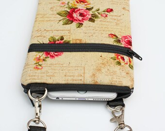 iPhone 8 Plus Crossbody Bag, Samsung S8  Purse, Cell Phone Zipper Purse, Fabric Vintage Travel Crossbody Bag - shabby chic rose script