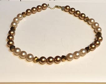 RMN Necklace - Gold and Beige Faux Pearls