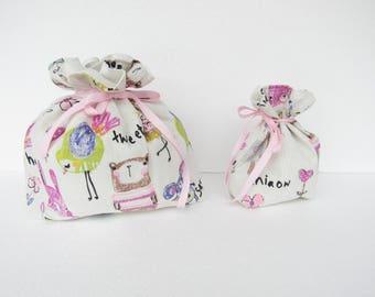 pouch in linen and cotton, makeup, bathroom, lingerie, lingerie storage bag pouch bag