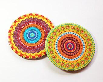 Mandala Coasters, Drink Coasters, Hostess Gift, Coasters, Barware, Home Decor, Bright colors, Set of Coasters, Housewarming Gift (5104c)