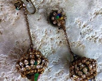 Crystal and Gold Drop Earrings