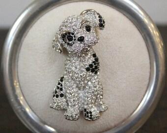 Vintage Swarovski Brooch, Pin, Crystal Dalmatian Puppy Dog.