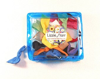 BLUE ZIPPER POUCH - One Blue Zipper Pouch containing 10 Elastic Hair Ties / Bracelets / Hair Bands