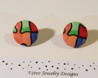 Autism Awareness Earrings, Autism Fabric Button Earrings, Fabric Button Earrings, Puzzle Earrings, Autism Jewelry, Different Not Less