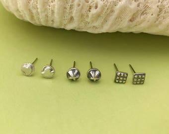 Trio of Sterling Silver Studs, Square Star and Heart Set of Three Small Earrings, Minimalist, Tiny Studs, Every Day Earrings