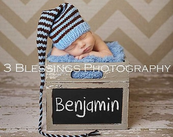 Newborn Baby Boy Knit Hat BaBY PHoTO ProP Long Tail Stocking Cap Blue Brown Stripe MuNCHKiN Beanie CoMiNG HoMe Pixie Toque CHooSE CoLOR GiFT