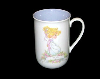 Vintage Precious Moments MOM Name Coffee Mug Cup with name meaning on back Enesco Mother's Day Gift