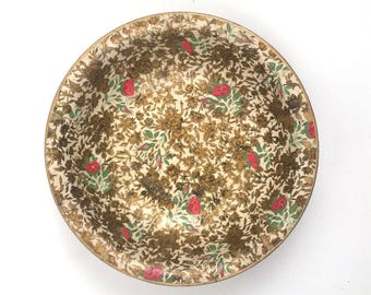Vintage Alcohol Free Gold Pink Green Floral Bowl