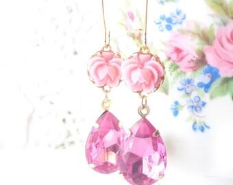 Pretty In Pink - Vintage Jewel Flower Earrings - Pink Rhinestone - Ruffled Rose - Bride
