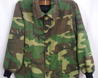Vintage Army Camo Jacket, lined/insulated