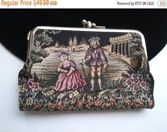 ON SALE Vintage BARONET Genuine Cowhide Leather Wallet Purse 1960's Victorian Lovers Motif Tapestry Needlepoint Mid Century Accessory