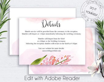 Blush Wedding Details Card, Details Card, Information Card, Wedding Info Card, DIY Direction Card, Directions PDF, DIY Wedding Template