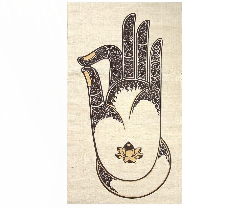 Wall hanging batik tapestry buddha vitarka gyan mudra zen zoom buycottarizona