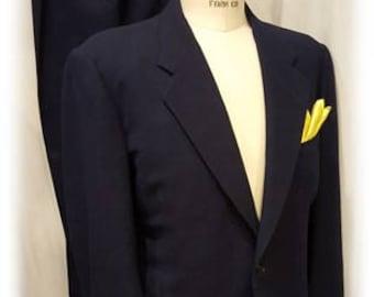 Super ~ Swanky ~ Amazing ~ Blue on Blue ~ Window Pane ~ Mens ~ Vintage ~ 1940's ~ Single Breasted ~ Suit ~ Large Size ~ L@@k!!!!!