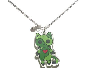 Creepy Cute Monster Cat Charm Necklace - Stitches the Patchwork Zombie Kitty - creepy cute monster cats pastel goth kawaii grunge halloween