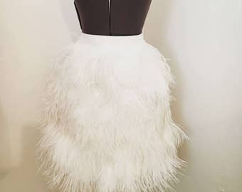 Custom Couture White Wedding Ostrich Feather Skirt