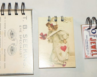 3 wire bound note pads (the jewel, The clown and T.B. Seekins, eye specialist) All with a vintage look